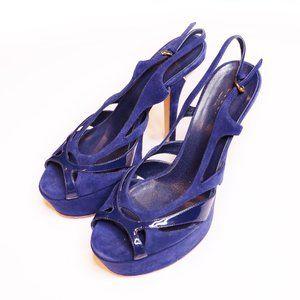 Gucci Blue Suede Platform Peep-Toe Heel Sz 38
